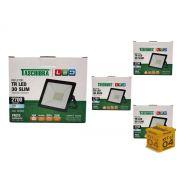 Kit 4 Refletores Led 30W Luz Branca Holofote Slim Taschibra