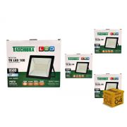 Kit 4 Refletores Led 100W Luz Branca Holofote Slim Taschibra