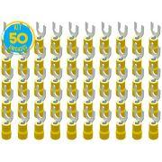 Kit 50 Terminais Garfo Pré Isolado Amarelo 4mm a 6mm Decorlux