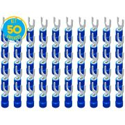 Kit 50 Terminais Garfo Pré Isolado Azul 1,5mm a 2,5mm Decorlux