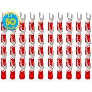 Kit 50 Terminais Garfo Pré Isolado Vermelho 0,5mm a 1,5mm Decorlux