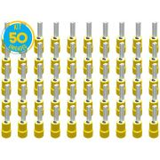 Kit 50 Terminais Pino Pré Isolado Amarelo 4mm a 6mm Decorlux