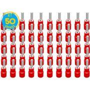 Kit 50 Terminas Pino Pré Isolado Vermelho 0,5 a 1,5mm Decorlux
