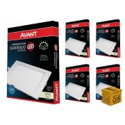 Kit 5 Painel Plafon Led 18W Embutir Quadrado Luz Neutra Avant