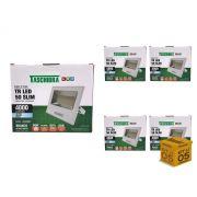 Kit 5 Refletor Led 50W Carcaça Branca Slim Taschibra