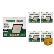Kit 5 Refletores Led 50W Luz Branca Holofote Slim Taschibra