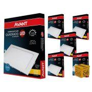 Kit 6 Painel Plafon Led 18W Emb. Quadrado Luz Amarela Avant