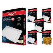 Kit 6 Painel Plafon Led 18W Embutir Quadrado Luz Neutra Avant