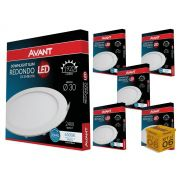 Kit 06 Painel Plafon Led 24W Embutir Redondo Luz Branca Avant