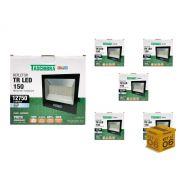 Kit 6 Refletores Led 150W Luz Branca Holofote Slim Taschibra