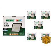 Kit 6 Refletores Led 50W Luz Branca Holofote Slim Taschibra
