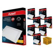 Kit 8 Painel Plafon Led 18W Emb. Quadrado Luz Amarela Avant