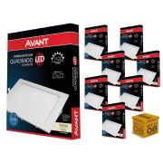 Kit 8 Painel Plafon Led 18W Embutir Quadrado Luz Neutra Avant