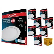 Kit 08 Painel Plafon Led 24W Embutir Redondo Luz Branca Avant