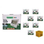 Kit 8 Refletor Led 50W Carcaça Branca Slim Taschibra