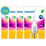Lâmpada Led Vela E14 4.5W 2700K Ledcandle Philips - Kit com 04