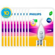 Lâmpada Led Vela E14 4.5W 2700K Ledcandle Philips - Kit com 10