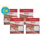 Luminária Painel Plafon Led 12w Embutir Quadrado Branco RG - Kit 04