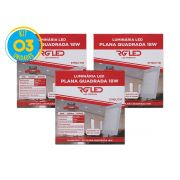 Luminária Painel Plafon Led 18w Embutir Quadrado Branco RG - Kit 03