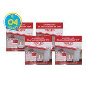 Luminária Painel Plafon Led 18w Embutir Quadrado Branco RG - Kit 04