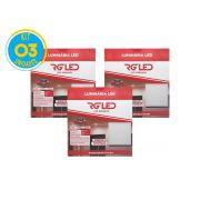 Luminária Painel Plafon Led 24w Embutir Quadrado Branco RG - Kit 03