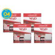 Luminária Painel Plafon Led 24w Embutir Quadrado Branco RG - Kit 04