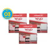 Luminária Painel Plafon Led 36w Embutir Quadrado Branco RG - Kit 03