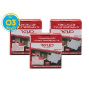 Luminária Painel Plafon Led 3w Embutir Quadrado Branco RG - Kit 03