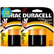 Pilha Alcalina Media Duracell C Cart. com 2 ( 2 Cartelas )