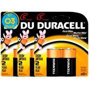 Pilha Alcalina Media Duracell C Cart. com 2 ( 3 Cartelas )