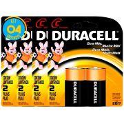 Pilha Alcalina Media Duracell C Cart. com 2 ( 4 Cartelas )