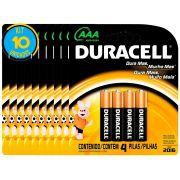 Pilha Alcalina Palito Duracell AAA Cart. com 4 ( 10 Cartelas)