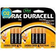 Pilha Alcalina Palito Duracell AAA Cart. com 4 ( 2 Cartelas)