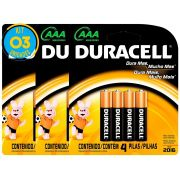 Pilha Alcalina Palito Duracell AAA Cart. com 4 ( 3 Cartelas)