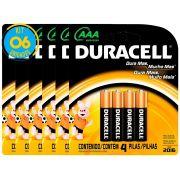 Pilha Alcalina Palito Duracell AAA Cart. com 4 ( 6 Cartelas)