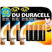 Pilha Alcalina Pequena Duracell AA Cart. com 4 ( 3 Cartelas )