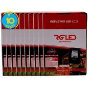 Refletor Led Holofote 10w Kit 10 Unidades Rg Led Premium