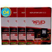 Refletor Led Holofote 10w Kit 4 Unidades Rg Led Premium