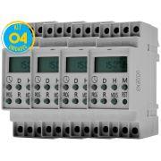 Timer Digital Trilho 220V TMD2IND Exatron ( Kit 4 unidades )
