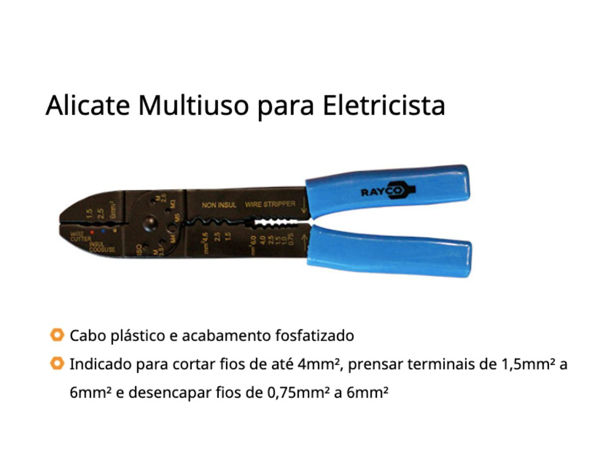 Alicate Multiuso para Eletricista 9p - 229mm Kit 3 unidades Rayco
