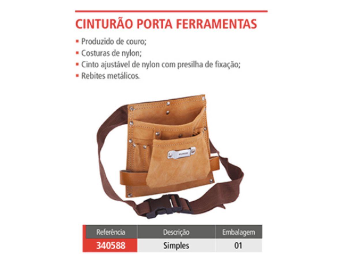 Cinturão Porta Ferramentas Simples Couro Worker