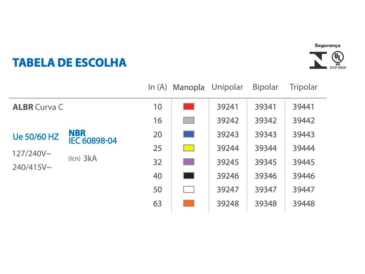 Disjuntor Bipolar 63A 3KA Curva C Alumbra