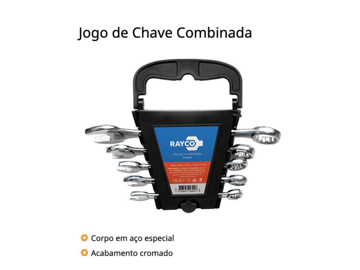 Kit 02 - Jogo de Chave Combinada Kit com 5 Peças Acabamento Cromado Rayco
