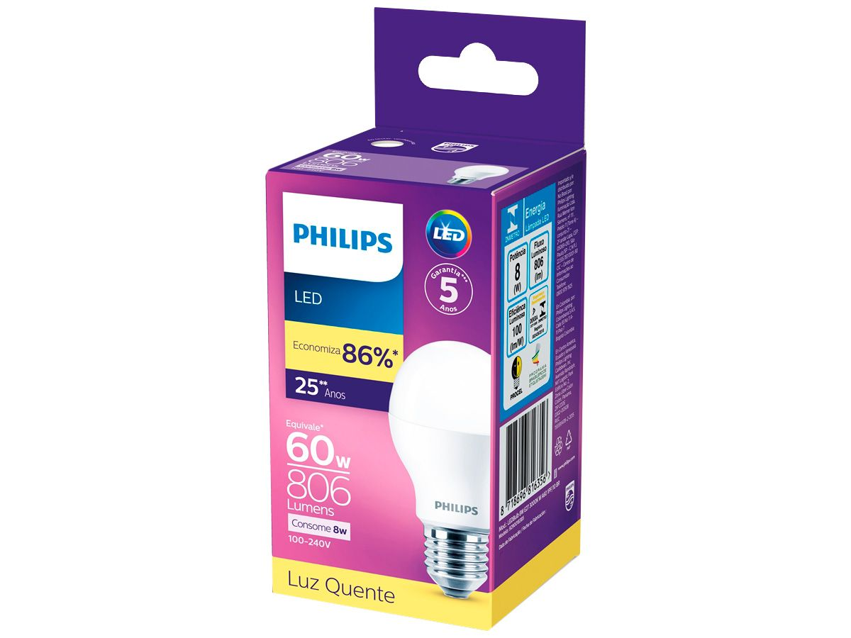 Lâmpada Led 8w 3000K Luz Quente Bivolt Philips