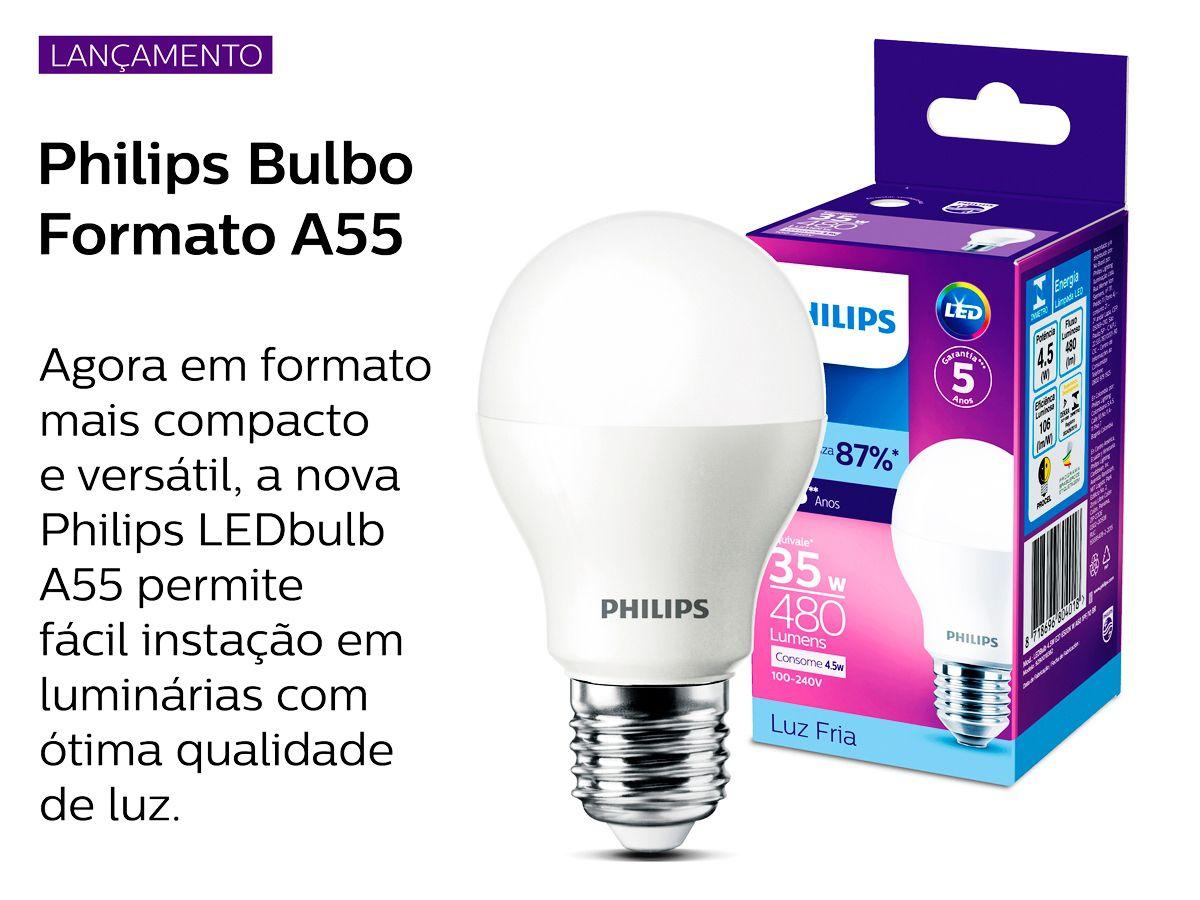 Lâmpada Led 8w 6500K Luz Fria Bivolt Philips
