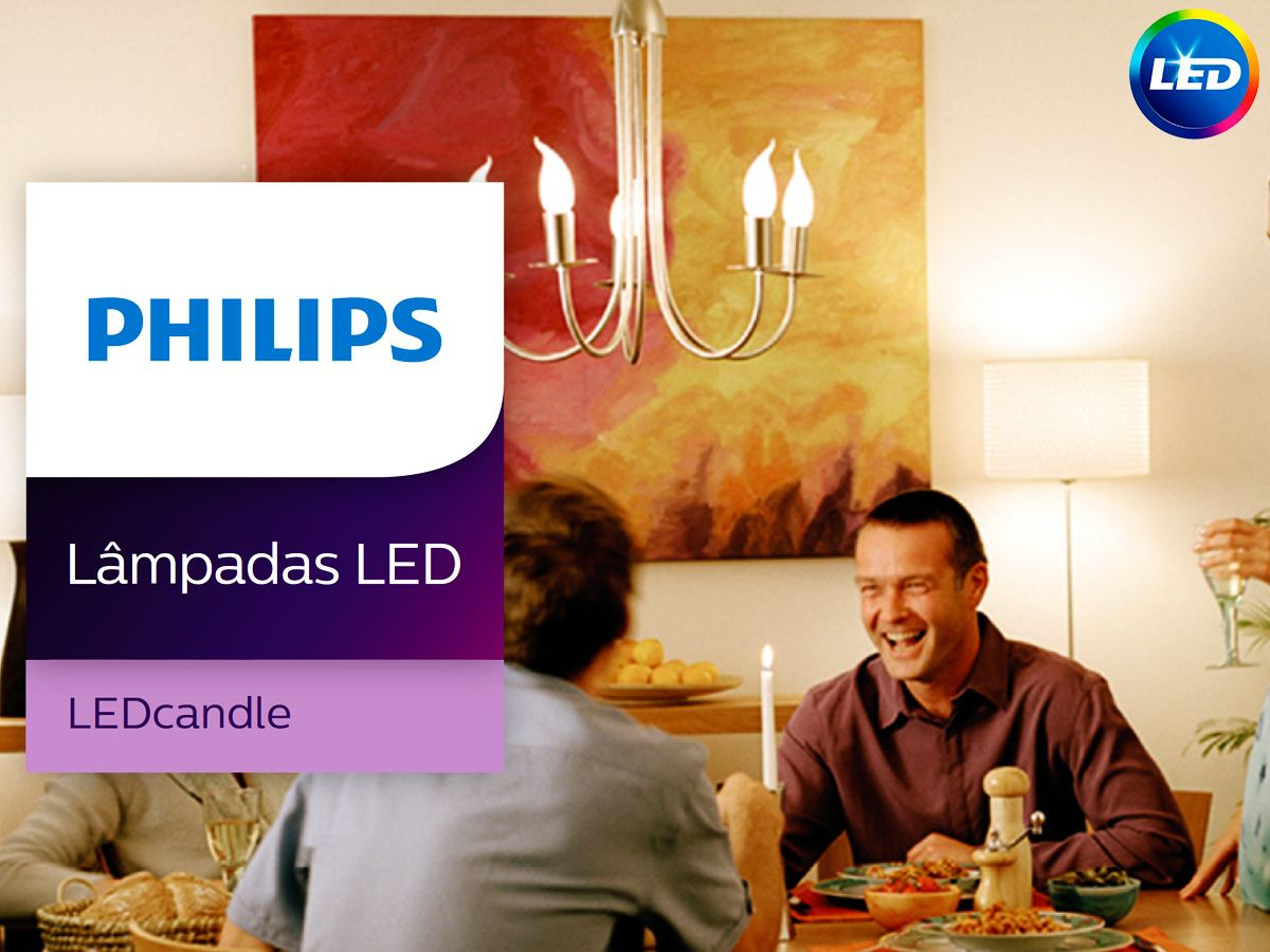 Lâmpada Led Vela E14 4.5W 2700K Ledcandle Philips