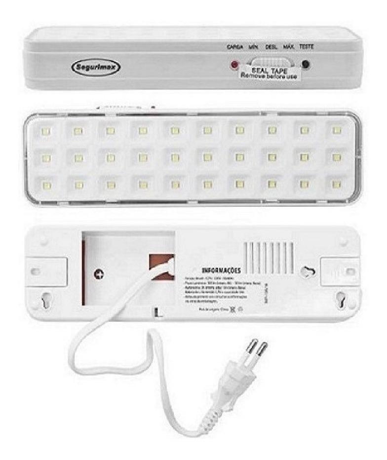 Luminária Emergência Led Compacta 30 Leds Segurimax