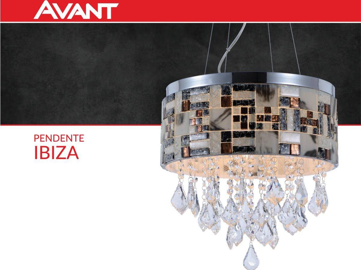 Lustre pendente em aço e cristal Bivolt Ibiza Avant