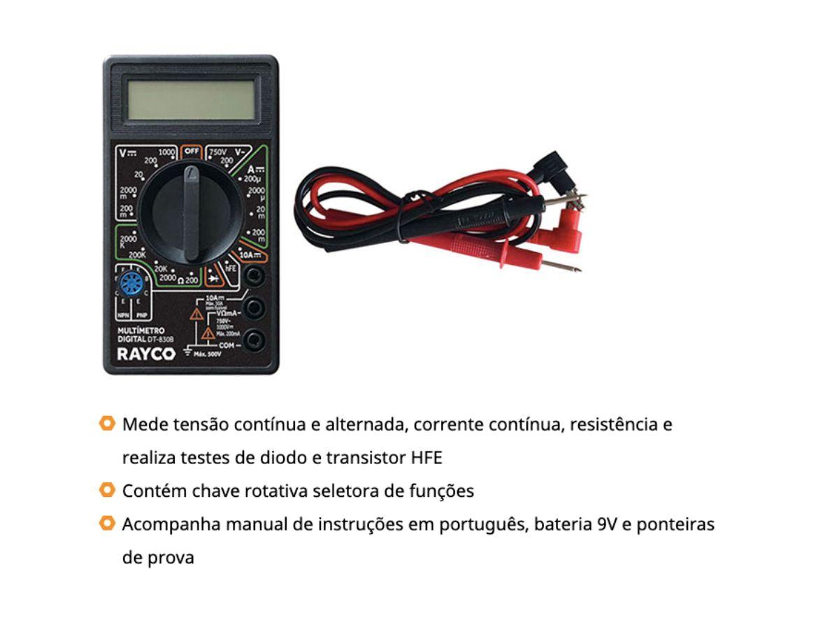 Multímetro Digital Corrente Alternada e Contínua Dt-830B Rayco