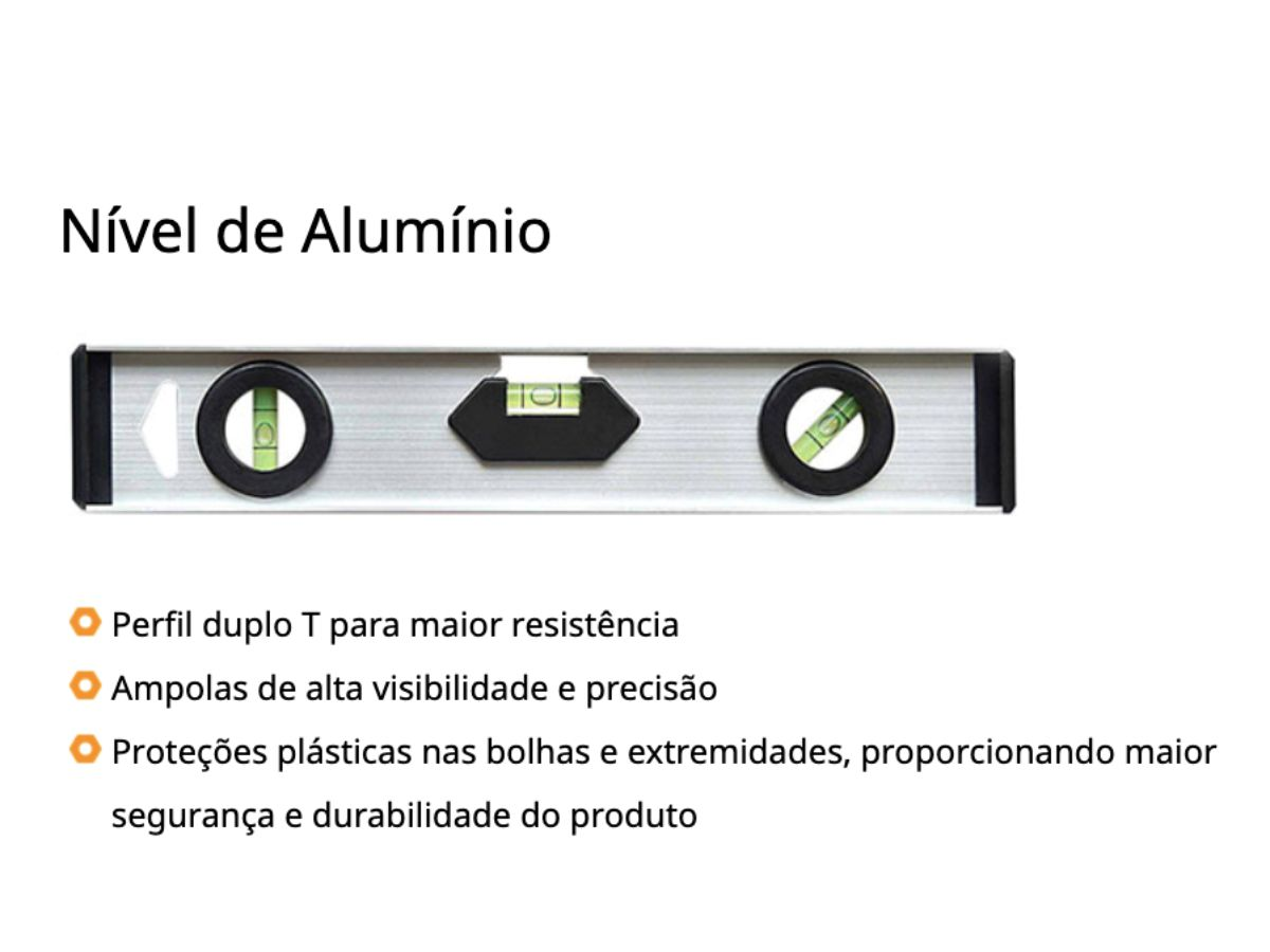 Nível de Alumíno Duplo T 14 Polegadas - 356mm 12443 Rayco